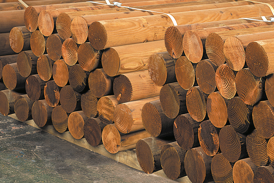 Turned Redwood laminated posts