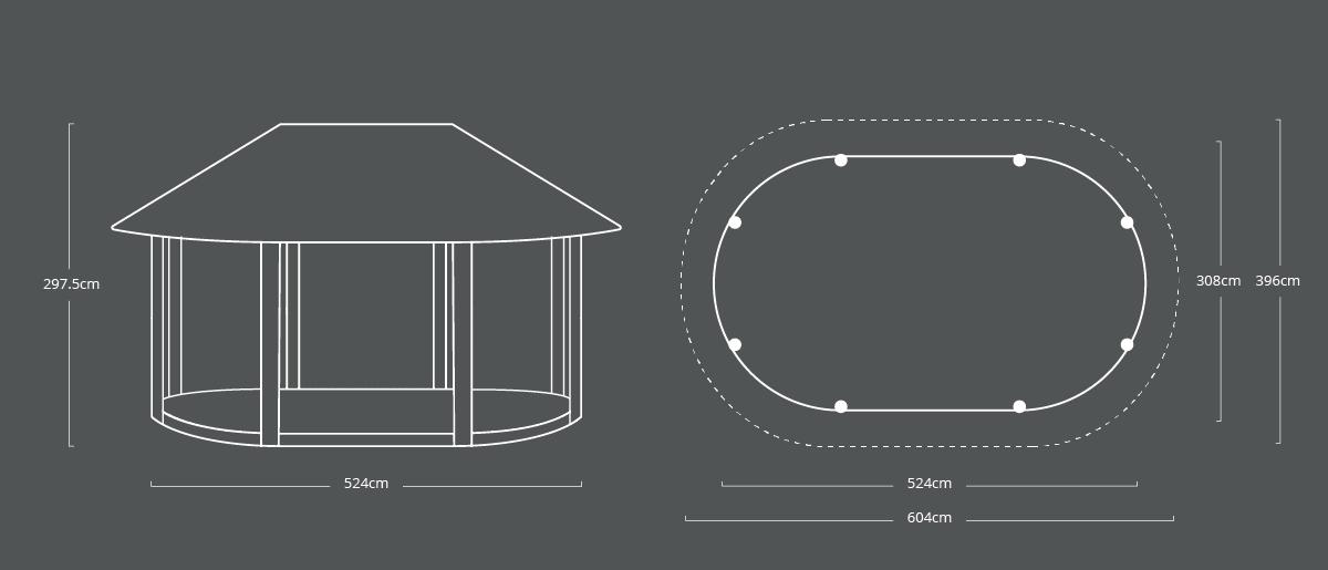 250 x 446cm Oval Shelter