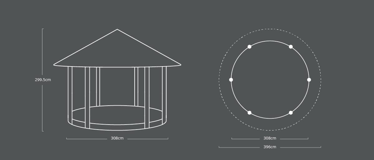 299.5 x 308cm Circular Shelter
