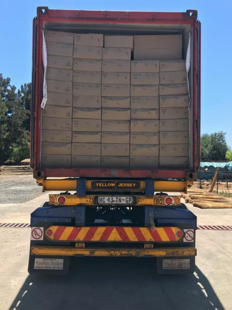 A shipment of thatch tiles and theming timber leaves the factory bound for the UK