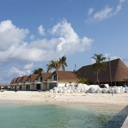 Aarah Veli, Maldives beach villas and restaurant. Thatching provided by Africa Roofing
