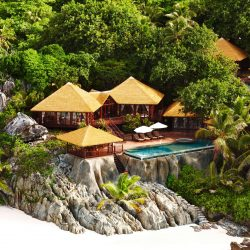 Fregate Island, Seychelles accommodation residences 12. Thatching provided by Africa Roofing